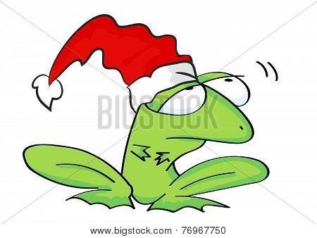 Frog with hat. Merry Christmas and Happy New Year