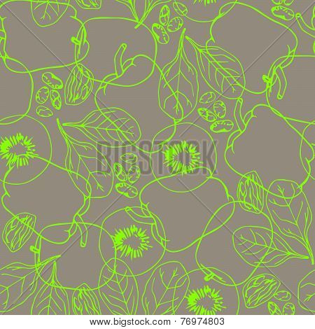 Seamless green pattern with contour vegetables