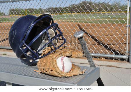 Baseball, Helmet, Bat, And Glove