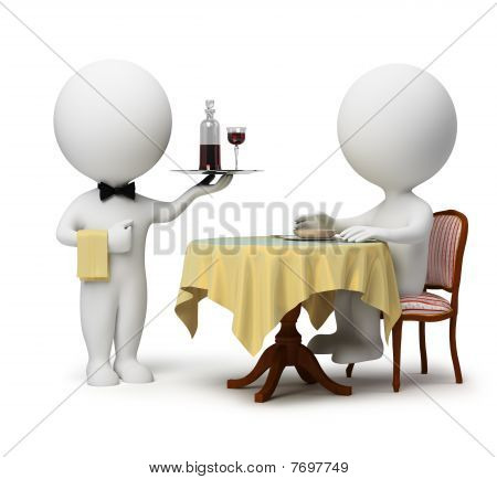 3D Small People - Waiter And Client