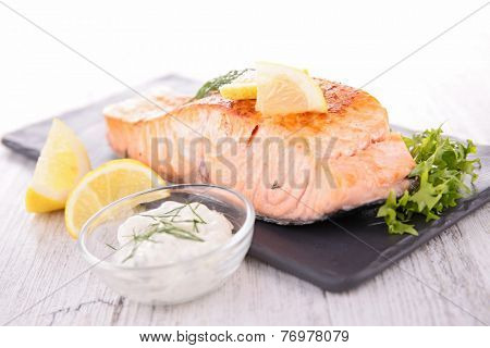 cooked salmon and sauce