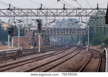 Railway Tracks Close To Stafford Stataion On The Uk North West Mainline
