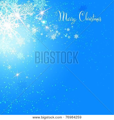 Holiday card with snow on blue background. Copy space.