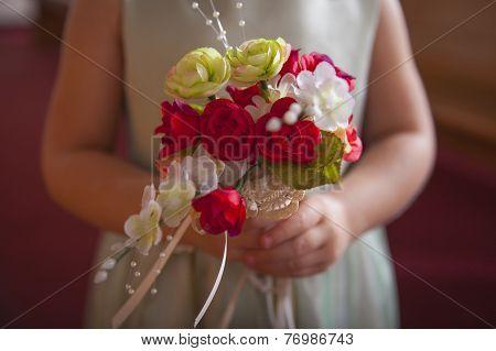 Flower Girl Holding Flowers