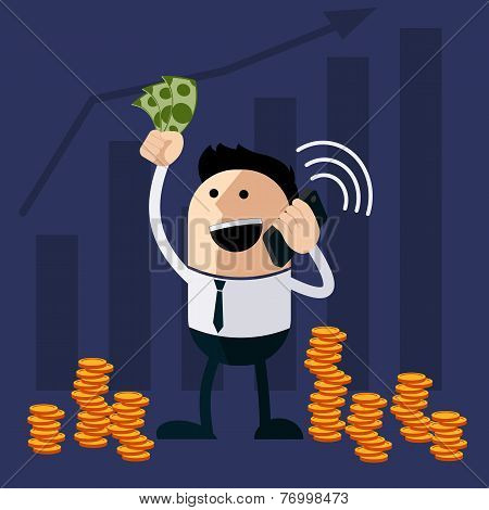 Happy man holding money and phone