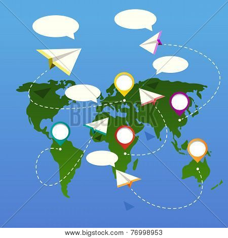 Bubble depicting a world map with white plane