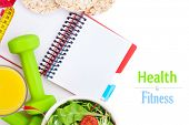 Dumbells, tape measure, healthy food and notepad for copy space. Fitness and health. Isolated on white background poster