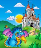 Big blue dragon with medieval castle - color illustration. poster