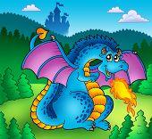 Big blue fire dragon with old castle - color illustration. poster
