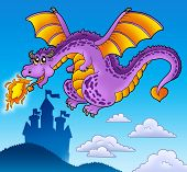 Huge flying dragon near castle - color illustration. poster