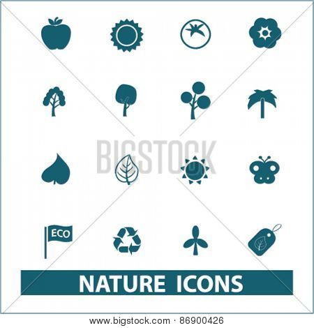 nature, ecology icons, signs, illustrations design concept set for appliciation, website, vector on white background