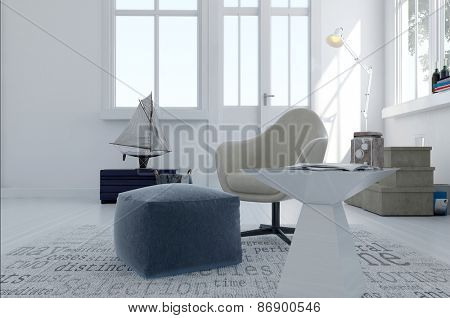 Simple grey and white living area in a spacious open plan room with large windows and nautical themed decor. 3d Rendering