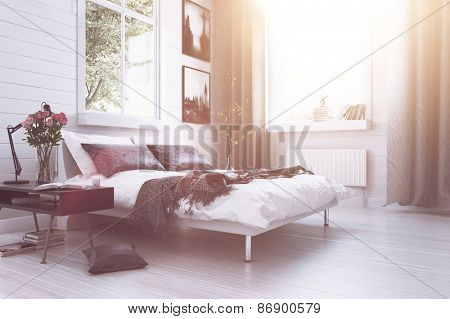 Warm sunlight with sun flare in a modern luxury bedroom with a double divan bed, flowers, artwork on the walls and long drapes in grey and white decor. 3d Rendering