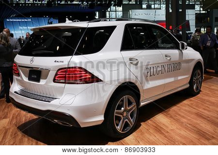 NEW YORK - APRIL 1: Mercedes Benz exhibit New GLE 550e  at the 2015 New York International Auto Show during Press day,  public show is running from April 3-12, 2015 in New York, NY.