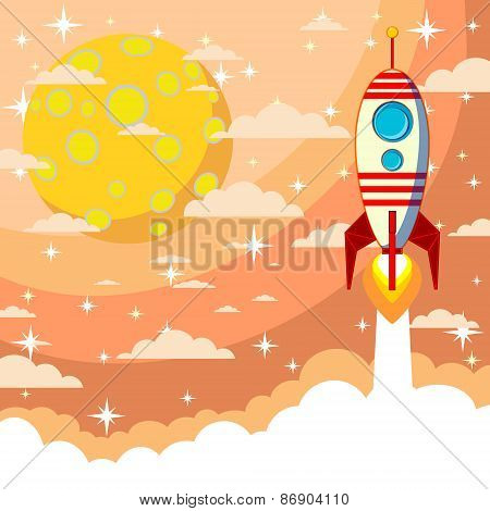 Silhouette of a rocket on the moon background, vector illustration