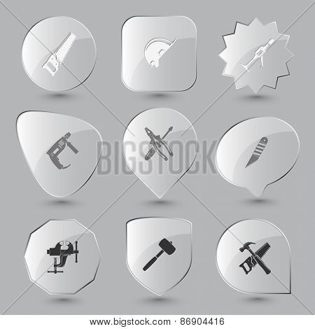 Industrial tools set. Raster glass buttons.