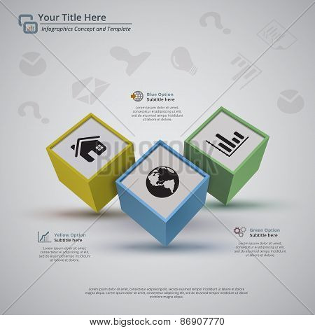 Three Business Cubes Infographic Background