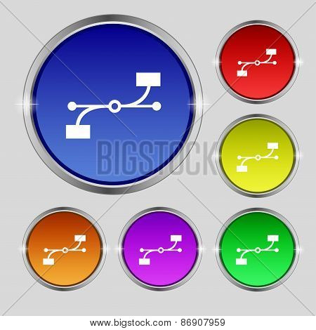 Bezier Curve Icon Sign. Round Symbol On Bright Colourful Buttons. Vector