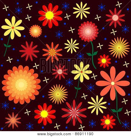Colorful Floral Vector Pattern