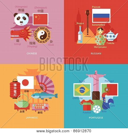 Set of flat design concept icons for foreign languages. Icons for Chinese, Russian, Japanese and Por