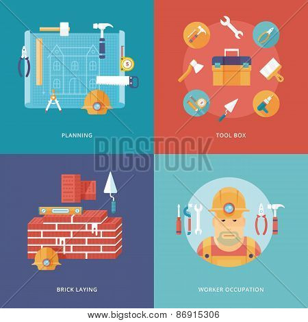 Vector construction and building icons set for web design and mobile apps. Illustration for planning