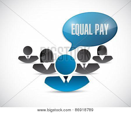Equal Pay People Sign Illustration Design