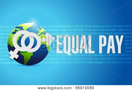 Equal Pay Globe Sign Illustration Design
