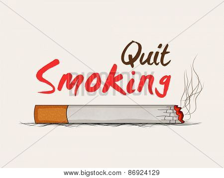 Burning cigarette with text Quit Smoking, can be used as poster, banner or flyer for No Smoking Day.