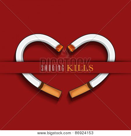 Burning cigarette in heart shape with text Smoking Kills on red background for No Smoking Day.