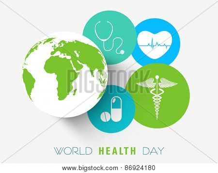 Sticker, tag or label with medical tools, sign, medicine and globe for World Health Day concept.