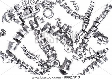 Metal Shavings jumbled and isolated on white poster