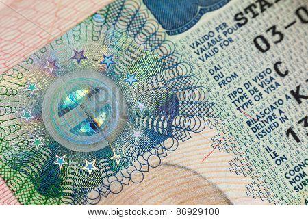 Fragment of European Schengen Visa in a passport page - macro background