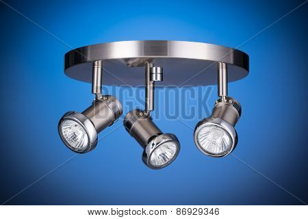 Ceiling Light Fixture Isolated On Blue Background