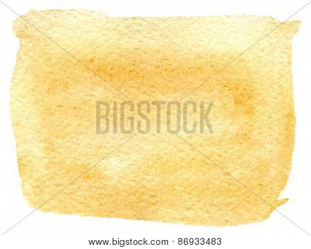 Yellow watercolor paint stain painted with brush on paper, vector illustration