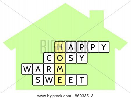 Crossword puzzle for the word Home and words Happy, Cosy, Warm, Sweet, vector illustration