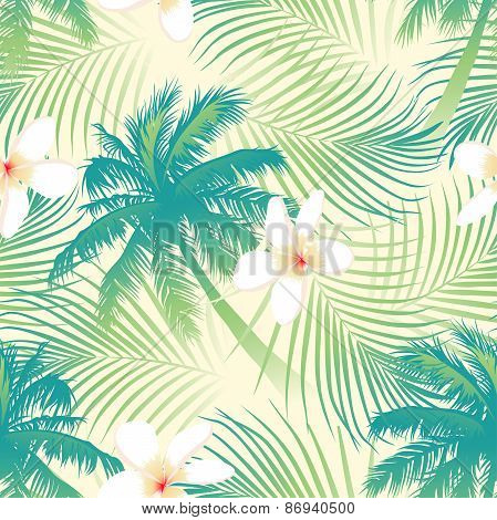 Tropical Palm Tree With Flowers Seamless Pattern
