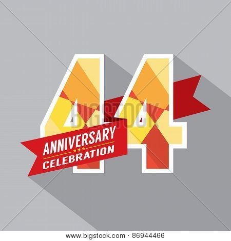 44th Years Anniversary Celebration Design Vector. EPS 10 poster
