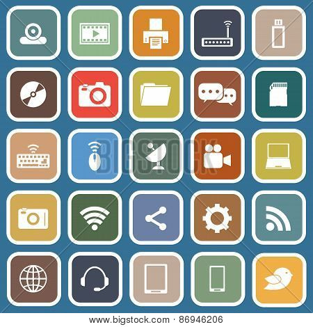 Hi-tech Flat Icons On Blue Background
