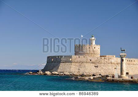 Saint Nicholas Fort, Rhodes And Rhodian Deer Statues