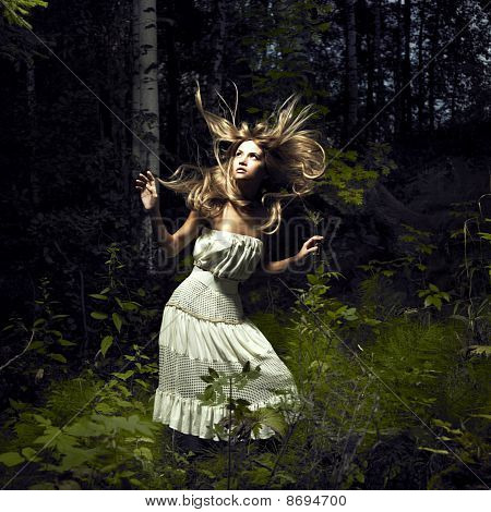 Portrait of romantic woman at fairy forest poster