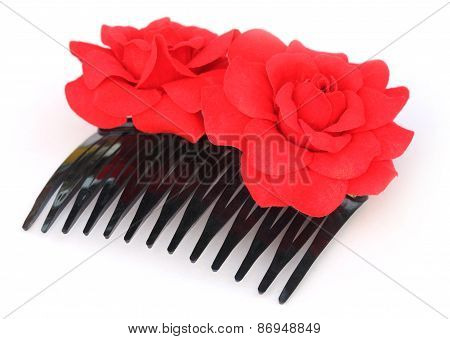 Hairclip With Red Flower