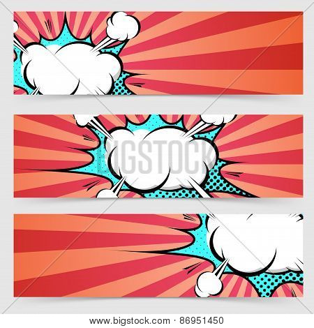 Pop Art Ray Light Style Header Footer Collection