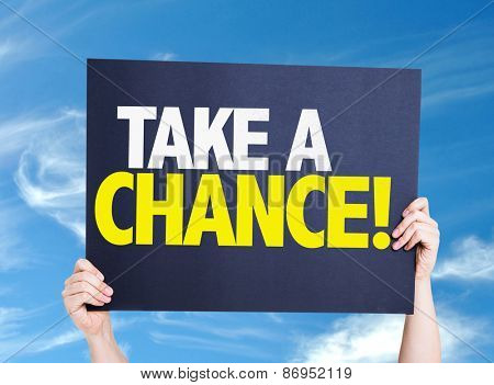 Take a Chance card with sky background