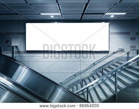 Mock Up Horizontal Poster Commercial Sign In Subway Station