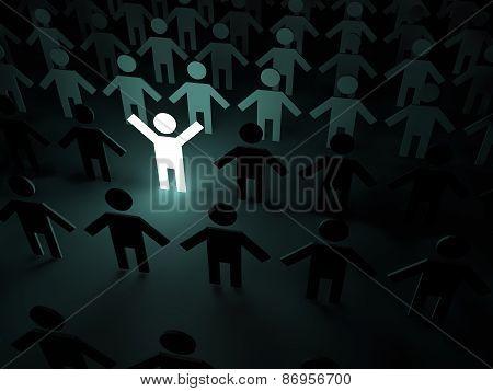 Bright person in the crowd