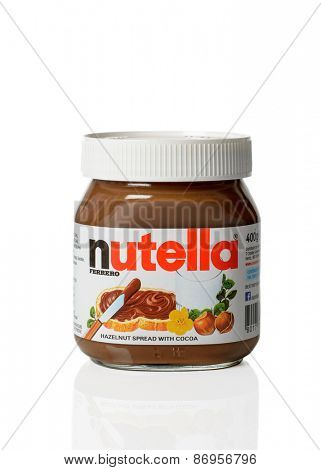 TELFORD, UK - APRIL 01, 2015: A jar of Nutella hazelnut chocolate spread on white background.  Nutella is manufactured by the Italian Ferrero company based in Piedmont, Italy.