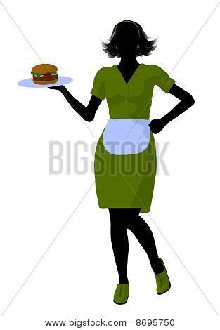 Waitress Illustration Silhouette