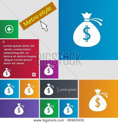 Money Bag Icon Sign. Metro Style Buttons. Modern Interface Website Buttons With Cursor Pointer. Vect