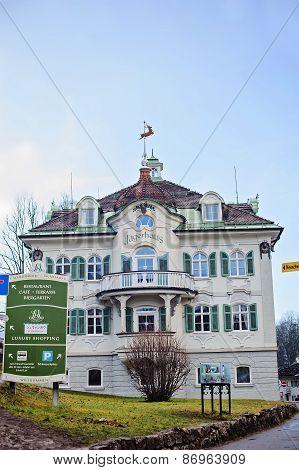 HOHENSCHWANGAU, GERMANY - 14 JANUARY 2014: Bavarian architecture of Hohenschwangau village