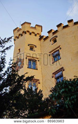 HOHENSCHWANGAU, GERMANY - 14 JANUARY 2014: Hohenschwangau castle detail